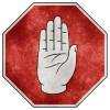 Grunge stop sign with palm-up hand