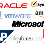 Software license montage of Oracle, VMWare, Salesforce and more